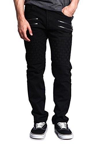 Basket Weave Button - Victorious G-Style USA Men's Basket Weave Biker Twill Jeans DL1043 - Basket Weave Black - 36/30 - JJ1D