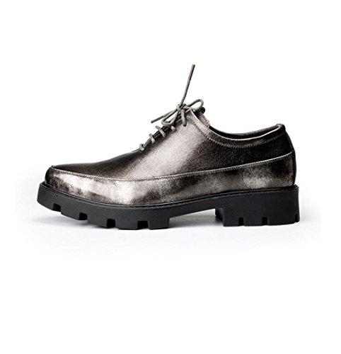 WZG Nueva Inglaterra señaló los zapatos zapatos casuales de los hombres de peluquería de fondo grueso aumentaron 8cm Grey