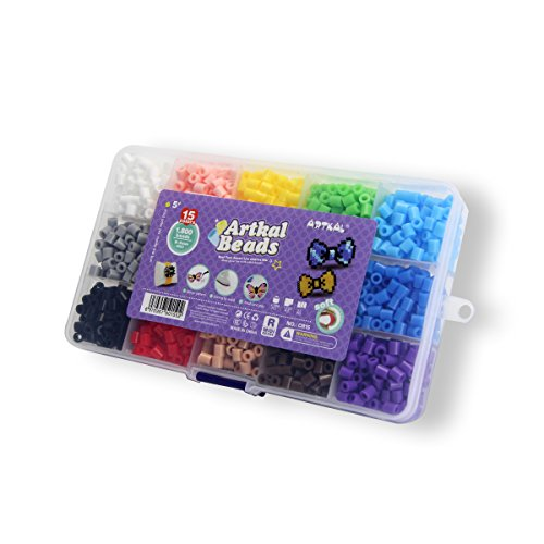 Artkal 1,800 SOFT Fuse Beads 15 Colors Sorted in a Storage Box Flexible and Keep Pixel Arts Sturdy and Durable CR15 (R-5mm) by ARTKAL