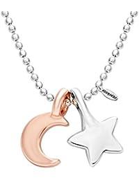 Rose Gold Crescent Moon Star Necklace,NOUMANDA Pendant Ball Chain Necklace