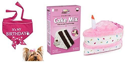 Pacific Firebrands Girl Dog Birthday Bandana Scarf Puppy Cake Mix Carob Flavor