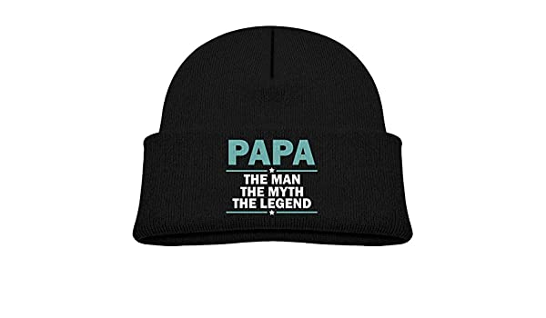 Papa The Man The Myth The Legend Beanie Hat Slouchy Knitted Cap Winter for Men