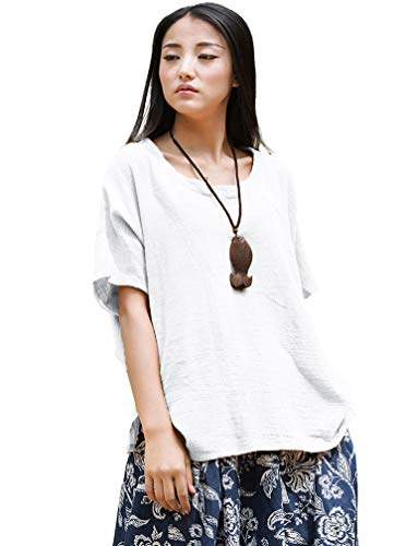 Soojun Women's Casual Loose Short Sleeve Round Collar Cotton Linen Shirt Blouse Tops, Style 1 White, Large