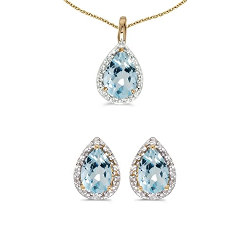 Aquamarine Pear Earrings - 10k Yellow Gold Pear Aquamarine And Diamond Earrings and Pendant Set