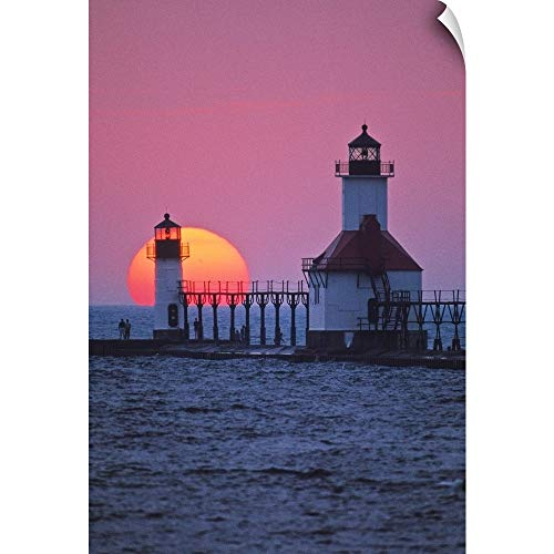 (CANVAS ON DEMAND Panoramic Images Wall Peel Wall Art Print Entitled Lighthouse at Sunset, St. Joseph, Michigan 20