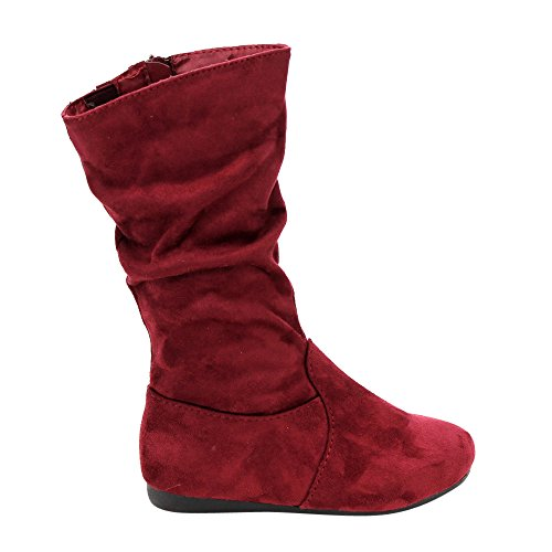 LINK GD92 Girl's Mid-Calf Solid Color Flat Heel Slouch Boots Photo #5