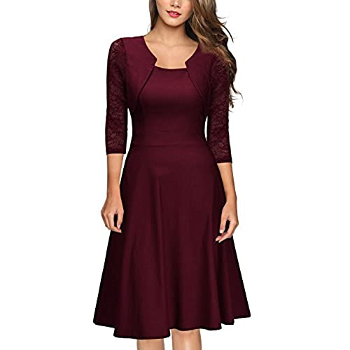 Miusol Womens Vintage Square Neck Floral Lace 2/3 Sleeve Cocktail Swing Dress, A-wine Red, Medium