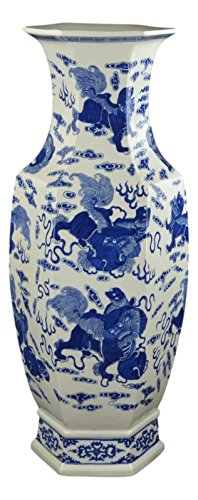25'' Classic Blue and White Hexagonal Porcelain Vase, Lion Dance, Ceramic China Qing Style (D10) by Festcool