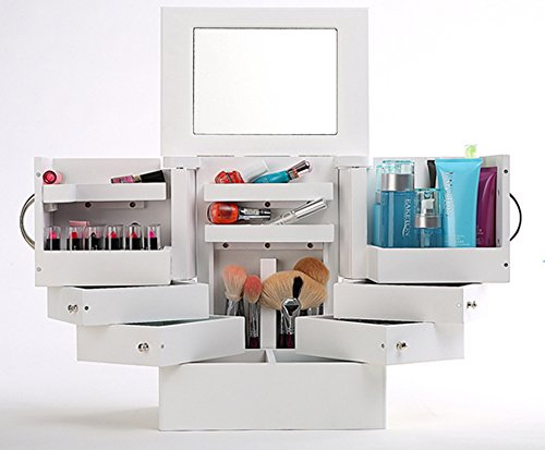 Charmant Amazon.com: Luxury Deluxe Wood Cosmetic Box Organizer With Mirror White 90  Degree Rotatale Jewelry Box Storage: Home U0026 Kitchen
