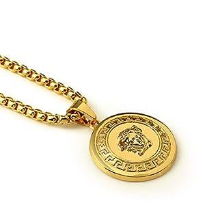 Men 18k Real Gold Plated 3d Medusa Pendant Hip Hop Necklace