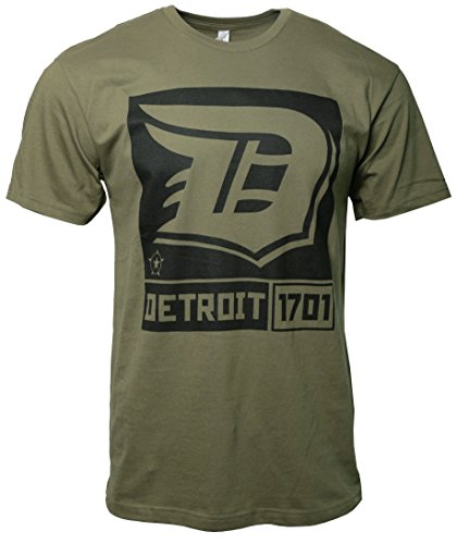 Detroit D Logo Mens t-Shirt Designed by Detroit Rebels Brand Military Green -