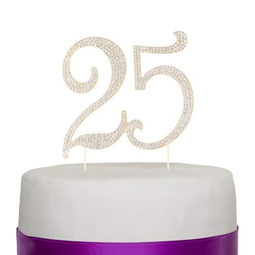 Ella Celebration 25 Cake Topper for 25th Birthday or Anniversary Gold Party Supplies Decoration Ideas (Gold)