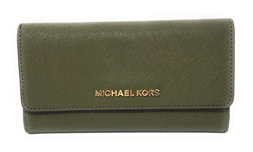 Michael Kors Jet Set Travel Large Trifold Leather Wallet (Duffle) (Best Leather Wallet Womens)