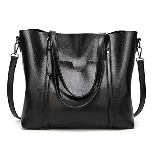 - Pahajim Women Top Handle Handbags Soft Leather Work Tote Large Shoudler Bag Satchel Bag(Black)