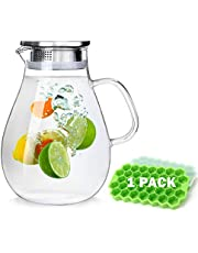 88OZ Glass Water Pitcher with Lid and Spout, High Heat Resistance Pitcher Water jug and Gift Ice Cube Trays for Hot/Cold Water & Iced Tea Wine Coffee Milk and Juice Beverage Carafe (2.6L)