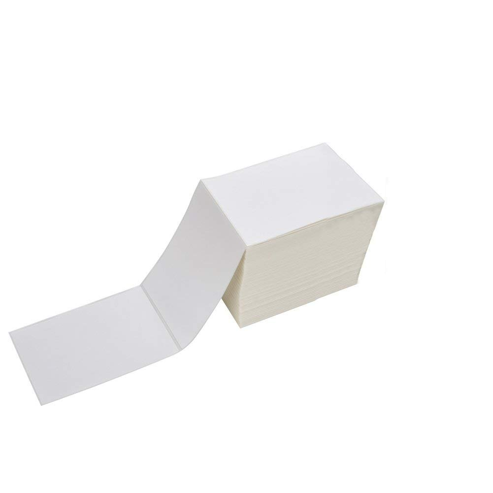 Fanfold 4 x 6 Direct Thermal Shipping Labels with Perforations, 500 Labels, Permanent Adhesive, White Mailing Labels for Zebra Thermal Printer