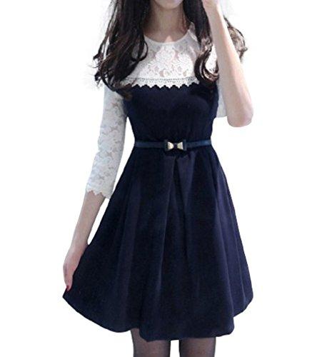 同情スライム主張する(ロンショップ)R.O.N shop 刺繍 レース ドレス ワンピース ベルト付き 膝上 Aライン フレア きれいめ 清楚 紺 白