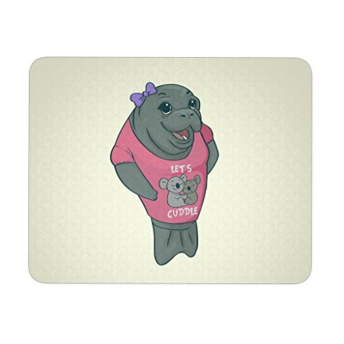 Manatee Lets Cuddle Commercial Novelty Mousepad for Women Men Kids Gamers