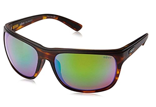 Revo Remus RE 1023 02 GN Polarized Rectangular Sunglasses, Matte Tortoise/Green Water, 62 - Sunglasses Glass Revo Lens