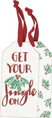 Primitives By Kathy 3 Inches x 6 Inches Fabric Wood Jingle Bottle Tag Wine Accessory