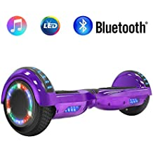 """NHT 6.5"""" inch Aurora Hoverboard Self Balancing Scooter Colorful LED Wheels Lights - UL2272 Certified Carbon Fiber/Spider/Built-in Bluetooth Speaker Available"""