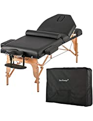 Massage Table Massage Bed Spa Bed Height Adjustable 77 Inches Long 30 Inches Wide Salon Bed 2 Fold 4 Inches Thick Foam Pad Portable Massage Table W/Carry Case Bolster