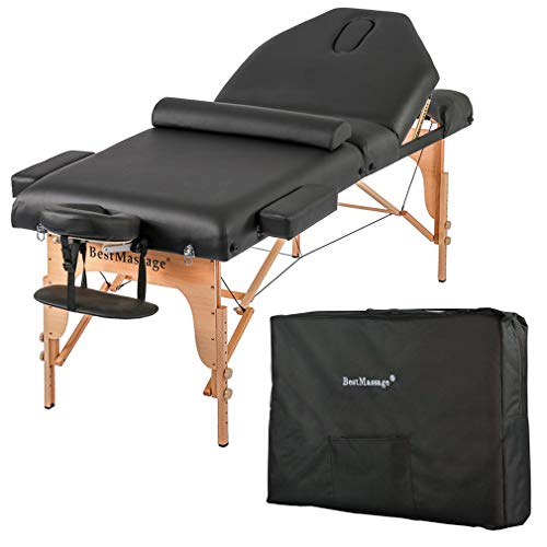 "Massage Table Massage Bed Spa Bed Height Adjustable 77"" Long 30"" Wide Salon Bed 2 Fold 4"" Thick Foam Pad Portable Massage Table W/Carry Case Bolster"