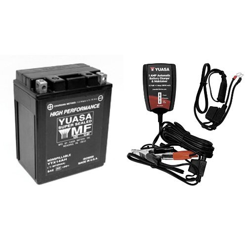 Yuasa YUAM62H4A YTX14AH-BS Battery and Automatic Charger Bundle 12 Amp Automatic Battery Charger