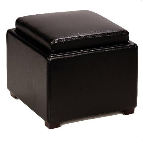 Cortesi Home Bonded Leather Mavi Storage Tray Top Ottoman, Black