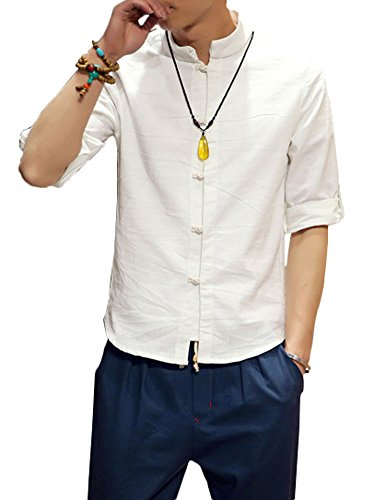 Plaid&Plain Men's Linen Cotton Mandarin Collar Roll-Up Sleeve Frog-Button Shirt White M
