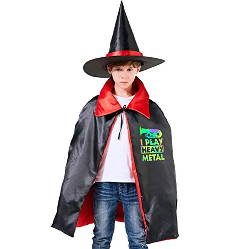 Wodehous Adonis Tuba Band Funny Heavy Metal Kids Halloween Costumes Witch Wizard Cloak Party Cape With Hat -