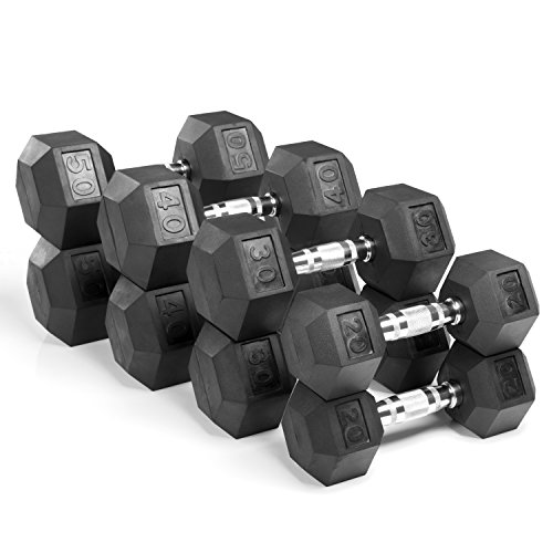 XMark Fitness, Premium Quality, Rubber Coated Hex Dumbbells are Built Tough, Built to Last - Sold in Sets (4 Pair:...