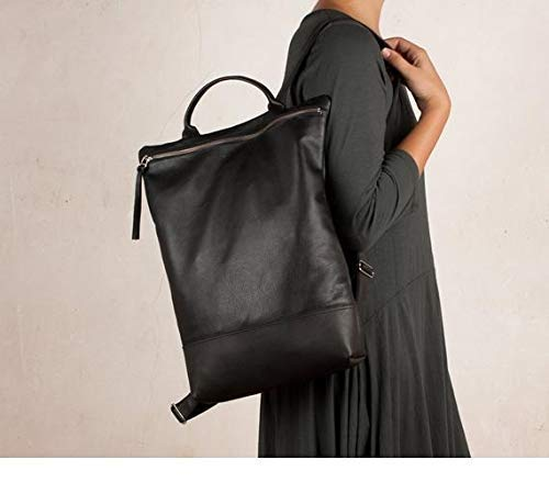 Mochila grande de cuero negra, mochila grande cuero, mochila