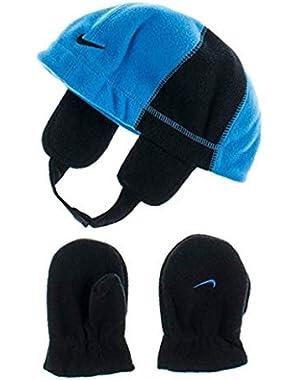 Baby Fleece Ear Flap Beanie & Mitten Set Toddler Winter Cap Hat (Sky Blue/Black) 2T-4T