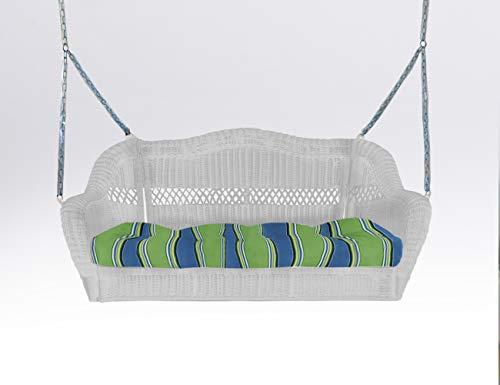 White Wicker Porch Swing - Tortuga Outdoor Portside Wicker Porch Swing Cushion - White
