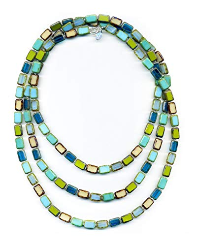 (Long Beaded Necklace in Tide Pool Mix, 7-Ways to Wear, Glass Tile Beads, 60