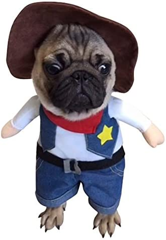 NACOCO Cowboy Dog Costume with Hat Dog Clothes Halloween Costumes for Cat and Small Dog 21