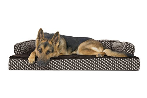Furhaven Pet Dog Bed   Orthopedic Plush & Décor Comfy Couch Sofa-Style Pet Bed for Dogs & Cats, Diamond Brown, Jumbo