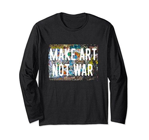 Peace Not War Vintage T-shirt (Unisex Make Art Not War Peace Graffiti Hippy Long Sleeve Shirt 2XL Black)
