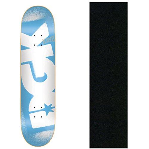 ラジウムスキル段階DGK スケートボードデッキ 型抜き染め ブルー 7.75インチ グリップ付き