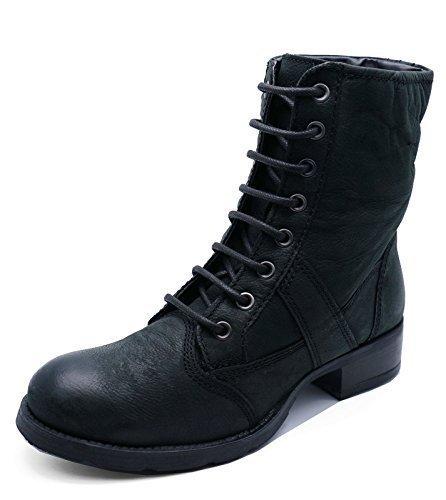 HeelzSoHigh Damen Flach Leder Schwarz Zum Schnüren Militär Combat Biker Stiefeletten Schuhe Größen 3-8