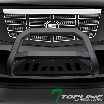 Chevy Grille Guards (Topline Autopart Matte Black AVT Style Bull Bar Brush Push Front Bumper Grill Grille Guard With Skid Plate For 07-13 / 14 Chevy Silverado / Suburban / Tahoe / Avalanche ; GMC Sierra / Yukon)