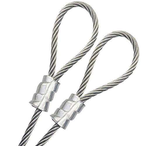 """PSI - Custom Cut Galvanized Steel 3/16"""" Vinyl Coated Wire Rope 7x19 Strand 1/8"""" Core, Double Loop, Made to Order Guide Wire Outdoor Suspension Safety Security Braided Steel Cable 1ft to 300ft (Clear)"""