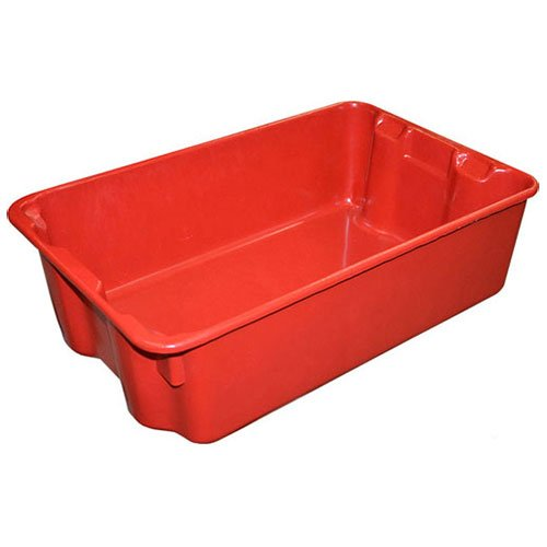 Molded Fiberglass Nest and Stack Tote 780308-5280 - 19-3/4'' x 12-1/2'' x 6'' Red - Lot of 10