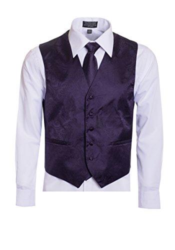 Men's Premium Paisley Vest Neck Tie Pocket Square Set Paisley Vest for Suits and Tuxedos-Many Colors (XLarge, Grape/Dark Purple)