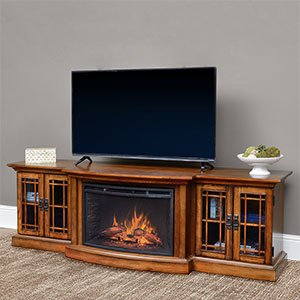 Comfort Smart Graham Infrared Electric Fireplace Entertainment Center in Toasted Almond- CS-26MM-TA (78 Inch Tv Console)