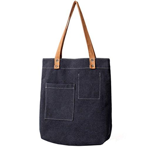 EasyHui Women and Girls Canvas Tote Bag Casual Pure Color Hobo Messenger Shoulder Bag Travel Bag Black
