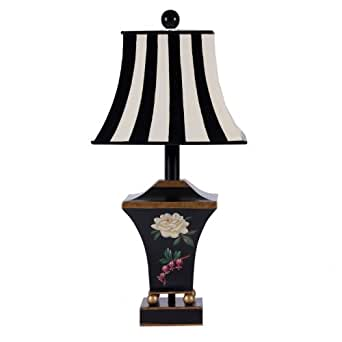 Black Floral Metal Tole Caddy with Striped Metal Shade