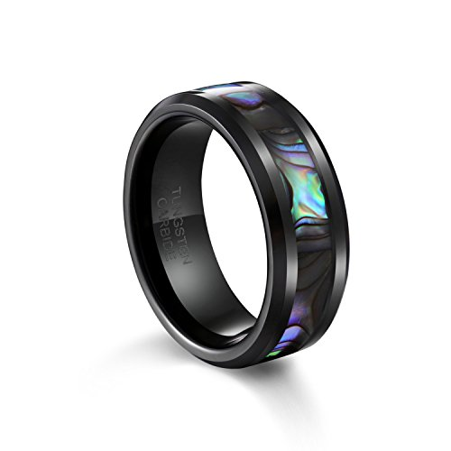 TUSEN JEWELRY 8mm Tungsten Wedding Band Natural Abalone for sale  Delivered anywhere in USA