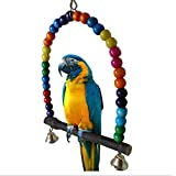 Yunt Colorful Wooden Swing Bird Toy Parrot Cage Parakeet Cockatiel Finch Lovebird Budgie Toys Bird Swings with Bells(Big)